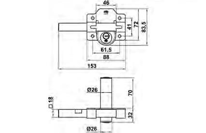 CERROJO 5 SEGU  88X153 LAT B70