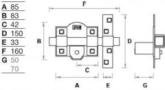 CERROJO 308-RP/080 B.50 DCH DOR