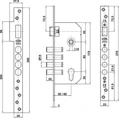 CERRADURA 110 A. INOX 18/8 S/B